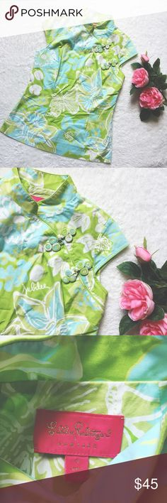 """Lilly Pulitzer Jubilee top Beautiful soft mint green&baby blue floral print top by Lilly Pulitzer Jubilee. Size 4. Hidden left side zipper and hidden clasp closure on the left bust. Cap sleeves. Measures: bust flat 18""""// shoulder to bottom 24"""". Gently worn and in great condition. Please ask questions 💫 Lilly Pulitzer Tops"""