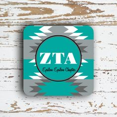 Zeta Tau Alpha ZTA coaster Turquoise and gray by PreppyCentral
