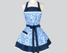 Ruffled Retro Apron . Navy Blue and White Winking by CreativeChics