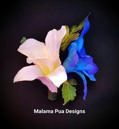 BRIDAL ORCHID Hair clip, Blue & White flowers, Wedding headpiece, hair…