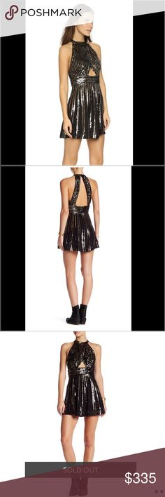 Free People Sequin Party Dress NWT.  SOLD OUT!  Dazzling, two-tone sequin stripes deck a head-turning A-line minidress infused with glitzy, glam-rock attitude. A midriff cutout at the crossover bodice & an open back let you flash a little skin underneath the disco lights.  The fit-and-flare silhouette has a front cutout & open back for a flirty aesthetic. Button closures behind neck. Hidden back zip. Lined. Fabric: Beaded chiffon. 100% viscose. Length: 30in / 76cm, from shoulder Measurements…