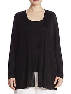 Lafayette 148 New York, Plus Size - Radiant Shimmer Rib-Knit Cardigan