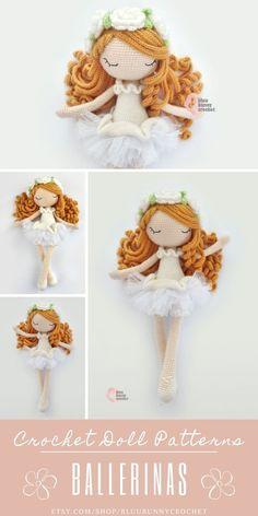 Flower Fairy Doll Amigurumi Crochet Pattern. Ballerina Crochet Doll Pattern 14,5 inches - 37cm This is a DOWNLOADABLE TUTORIAL. Written in English. Using US terminology. Bunny Crochet, Crochet Fairy, Crochet Doll Pattern, Cute Crochet, Crochet Gifts, Crochet Patterns, Crochet Toddler, Crochet Unicorn, Crochet Summer