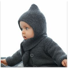 Phildar - Hooded Scarf to match Cardigan Baby Dk. Gray - pattern in French Knitting For Kids, Crochet For Kids, Knitting Yarn, Free Knitting, Baby Knitting, Crochet Baby, Knit Crochet, Baby Patterns, Knit Patterns