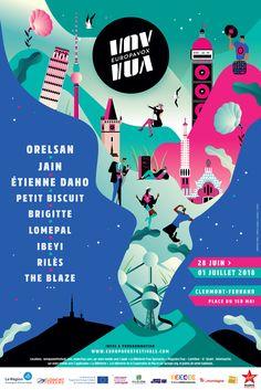 Les premiers noms du festival Europavox viennent de tomber. L'évènement accueillera du 28 juin au 1er juillet plus de 50 artistes à Clermont-Ferrand. Event Poster Design, Creative Poster Design, Creative Posters, Graphic Design Posters, Graphic Design Inspiration, Flyer Design, Layout Design, Web Design, Illustration Design Graphique