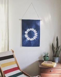 Hey, I found this really awesome Etsy listing at https://www.etsy.com/listing/186791521/sunflower-indigo-shibori-wall-hanging