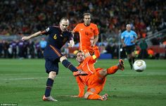 Spain's Andres Iniesta fires home the winner in the 2010 World Cup final against Holland