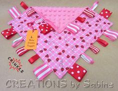 Baby Taggie, Tag Blanket, Sensory Taggie Toy, Ribbon Blanket, Lovie, Blankie, ladybugs, red, pink, white READY TO SHIP