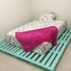 Base de pallets 100% reciclado Hazlo tu!!! Verde turquesa + rosa