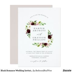 Blush Romance Wedding Invitation Our Blush Romance wedding invitation frames your names with an elegant border of burgundy marsala, blush pink and ivory flowers with lush green foliage. ❤  Wedding invites - customize your weddings invitations. Affiliate ad link. Red, white, pink flowers against a navy blue or white background for all, spring, summer, autumn. #invitations #invites #weddings