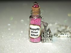 Happily Ever After Fairy Tale Necklace Bottle and Castle Charm Disney Fashion. $15.00, via Etsy.