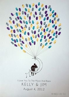 Moon Balloon Couple The original guestbook thumbprint von bleudetoi