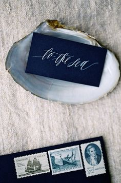 Oyster or clam shells for escort cards / place settings