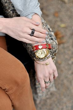 Wanderlust + Co // XL Buckle-Up Red Leather Bracelet // http://www.wanderlustandco.com/shop/xl-buckle-up-red-leather-bracelet/
