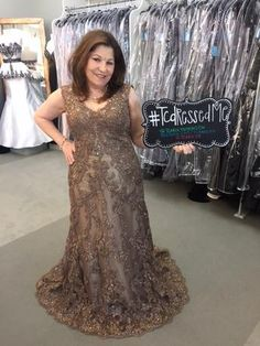 """Cat loves this Ivonne D 214D56 in Bronze for her daughter's wedding! The bride happened to be at HER dress fitting in Dallas when Cat sent her pictures in this dress. The bride LOVED it & said she though Cat looked """"elegant & beautiful!"""" The wedding will be held at Cathedral Shrine of the Virgin Guadalupe in Dallas, with the reception at the Dallas Petroleum Club- #ivonned #ivonnd214D56 #motherofthebride #gown #bronze #lace #beaded #TCarolyn #TCdressedMe"""