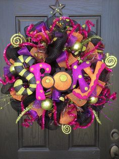 SPOOKY Halloween Mesh Wreath by GlitzyWreaths on Etsy