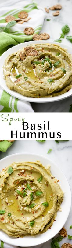 Spicy Basil Hummus is so delicious and with only 7 ingredients, it couldn't be easier to make! Fresh basil, chickpeas and a touch of red pepper take this classic hummus up a few notches! Basil Hummus, Clean Eating Recipes, Cooking Recipes, Appetizer Recipes, Appetizers, Salsa Dulce, Healthy Snacks, Healthy Eating, Vegetarian Recipes