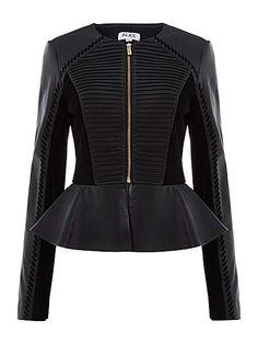 Giovanni collarless leather jacket