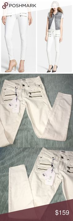 "Paige Edgemont Vanilla Bean Jeans Bright white twill shapes a pair of ultraslim stretch skinny jeans styled with zipper details for a modern, edgy finish. 30"" inseam; 10 1/4"" leg opening; 8"" front rise. Zip fly with button closure. Five-pocket style. 98% cotton, 2% elastane. Machine wash cold, tumble dry low. By Paige Denim; made in the USA of imported fabric. t.b.d. Use hip measurement to determine size. Narrow through the thigh. Snug fit; will stretch with wear. Paige Jeans Jeans Skinny"