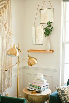Pinterest: tobieornottobie macrame wall hanging, gold standing lamps, potted plants, art work, white walls, bohemian minimalistic style