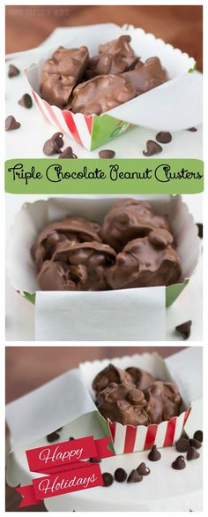 Looking for Christmas recipes or Holiday gift ideas? Look no further than these superb Triple Chocolate Peanut Clusters. You won't believe how easy they are! Part of the Sweets and Treats Blog Hop of over 34 yummy recipes. Get all the inspiration you need for Christmas gifts, holiday parties, cookies, gifts and other holiday ideas right here!