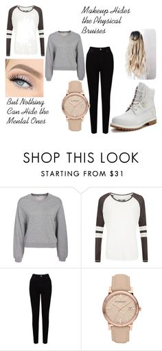 """""""Used and Abused - Cameron Park"""" by meep-meep-3 ❤ liked on Polyvore featuring Filippa K, Superdry, EAST, Burberry and Timberland"""