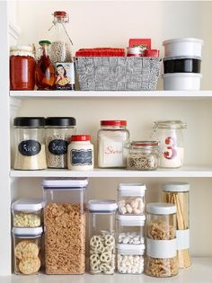 Kitchen storage ideas for any taste and small budgets on our designHappy blog! The chalkboard jar trend is so versatile for organizing in any room, and looks good too!