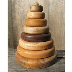 Natural Hardwood Stacking Toy for Babies and Toddlers. Handmade in Maine. $34.95