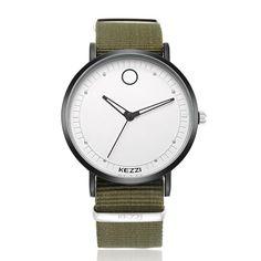 KEZZI 1524 Classic Women Men Quartz Watch Simple Nylon Strap Student Wristwatch