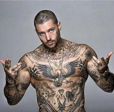 I sad I wanted no tattoo at all, not all the tattoos! Dope Tattoos, Badass Tattoos, Body Art Tattoos, Tattoos For Guys, Biker Tattoos, Tatoos, Inked Men, Tattoo Crane, Tatto Boys