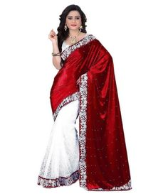12aa6fb69a5fe  Shop now  Designer Bridal Red Velvet Saree Floral Border Net Saree For  Women Available