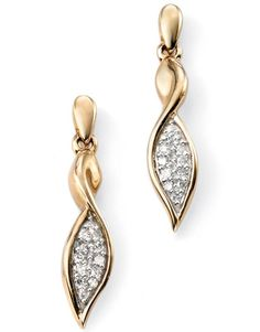 Diamond Pave` Set Drop Earrings - Geeves Jewellers - suppliers of watches and jewellery, London