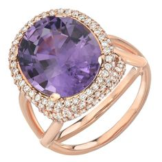 Tamir. Electric Lavender Tourmaline Diamond Gold Ring.