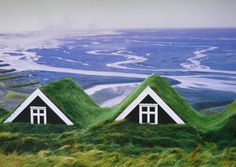 How beautiful is this home? Adapted to the cold, the Icelandic's have moved their homes underground for insulation. Grass on the roof keeps it extra cozy!