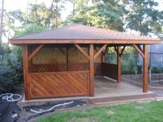 Altana drewniana A12 Patio Gazebo, Backyard, Wooden Summer House, Outside Fireplace, Diy Wood Projects, Mittens, Outdoor Structures, Home Decor, Houses