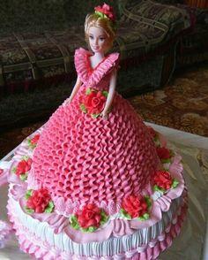 super ideas for cupcakes decoration princess doll cakes Barbie Birthday Cake, Happy Birthday Cakes, Birthday Cake Girls, Cake Decorating Techniques, Cake Decorating Tips, Barbie Cake Designs, Bolo Barbie, Barbie Doll, Dress Cake