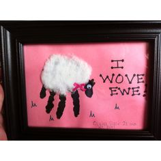 Sheep hand print (cotton ball stretched for wool)...possible homemade Father's Day/Birthday card for Rene