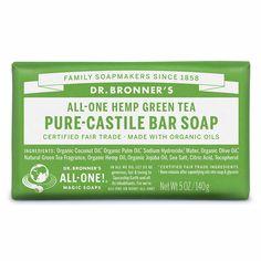 Dr. Bronner's Castile Bar Soap Green Tea | Organic Castile Soap $7.95 https://www.hellocharlie.com.au/dr-bronners-castile-bar-soap-green-tea/