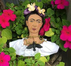 Shelf Sitter Frida Kahlo Cloth Art Doll With Dove by ChicoStudios