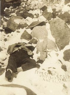 """""""Die on peak in site of summit,"""" the headline reads. """"Within half a mile of their goal, the summit of the peak, which they assayed to conquer on foot, Mr. and Mrs. Willis A. Skinner, each aged about 50 years, of Dallas, Texas, were overcome by cold and exhaustion and were frozen to death,"""" according to the story."""