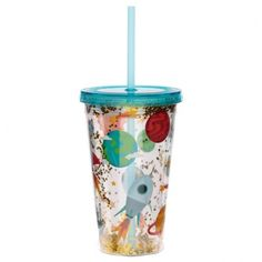 Fun for all the family at home, work or on holiday, our range of reusable double walled cups keep cold drinks cold. Printed with fun designs they are colourful and practical and come with a lid and reusable straw. Each cup holds 500ml. Our double walled cups keep cold drinks cooler for longer and are not suitable for use with hot liquids. The straw is not recommended for children under 5. Dimensions: Height 16cm Width 10cm Depth 10cm Straw 23cm (approx 6 x 4 x 4 inches; straw 9 inches) Fun Drinks, Cold Drinks, Funky Design, Cool Designs, Cups, Cool Stuff, Retro, Space, Range