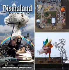 Dismaland New Banksy's New Art  Exhibition | Dismaland brochure / Park aerial view courtesy Upfest / Photo of construction