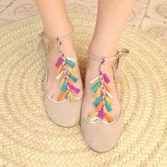 Coloured Tassels Leather Handmade Mary Jane Ballet Flats