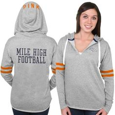 Women's Denver Broncos PINK by Victoria's Secret Gray Varsity Tunic Pullover Hoodie