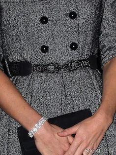 Beaded belt on Jesire shawl collar dress