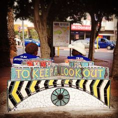Mosaic bench on Long Street Cape Town by Lovell Friedman