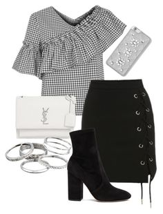 """Untitled #56"" by franciscanunes on Polyvore featuring Topshop, Yves Saint Laurent, Kendra Scott, Valentino and MICHAEL Michael Kors"