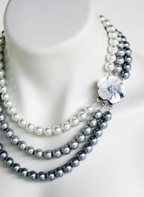 Mother of Pearl Triple Strand White Silver Pewter Pearls Wedding Necklace Flower Motif Bridal Jewelry