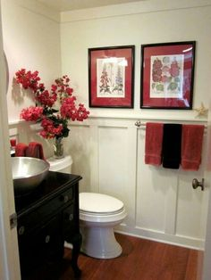 The Red And Black Color Scheme Ties Everything Together With Towels Wall Art Re Purposed Vanity Fresh Picked Flowers