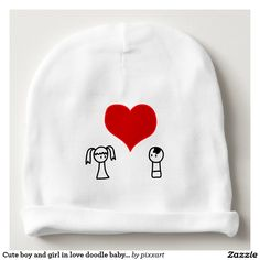 Cute boy and girl in love doodle baby beanie